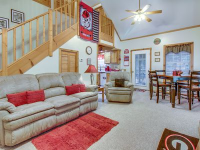 Photo for Secluded, two-story, dog-friendly cabin w/ screened-in deck, hot tub & fireplace