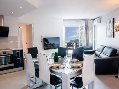 Photo for Juan Les Pins 3 Rooms with sea view and pool 54m2