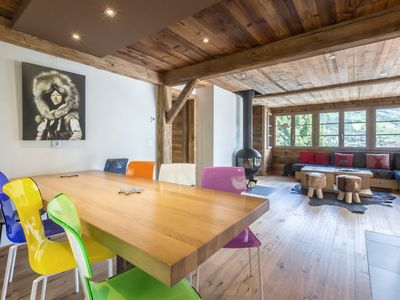 Photo for 5* chalet, trendy style, slopes nearby, panoramic view, garage, Wi-Fi