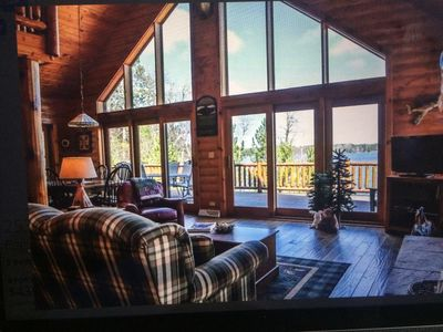 Photo for Beautiful 5 Bedroom 3 Bath Log Cabin, Sleeps 14 Near Eagle River& St.Germain Wi.