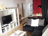The apartment was modern & very clean & tidy