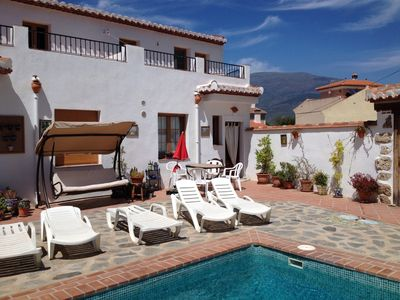Photo for Lovely house - pool, private patios, views, WiFi, charming village, free tapas