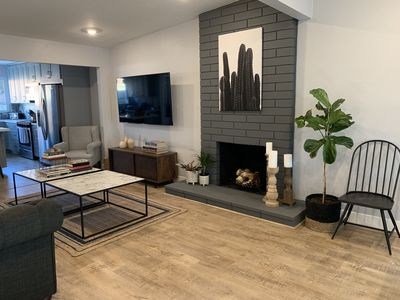 Living room with wood FP