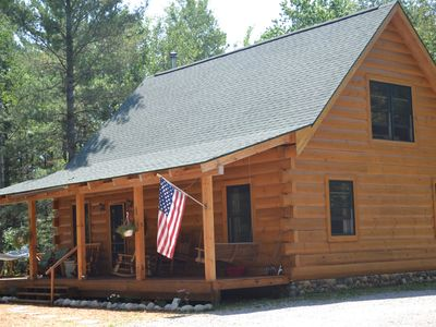 Photo for Peaceful Log Cabin, Tucked in the Woods, on Riverfront Property - GORGEOUS!!