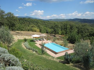 Typical Tuscan stone farmhouse with pool