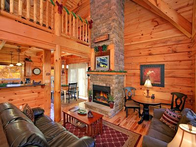 Photo for Classic 3 Bedroom Luxury Log Cabin with 3 baths, 3 Kings and Game Room