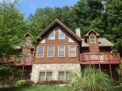 Poplar Ridge!!  Lovely 3200 SF log and stone cabin for a great getaway!!!