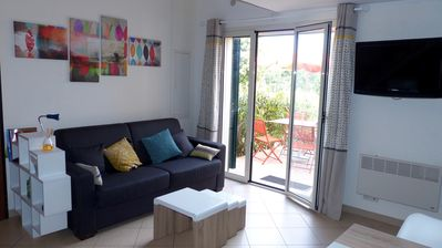 Photo for nice apartment T3, near the sea, nice terrace with garden and pool
