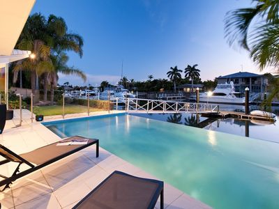 Photo for Mulloka Villa. Sunshine Coast - Absolute Waterfront. Private Infinity Pool