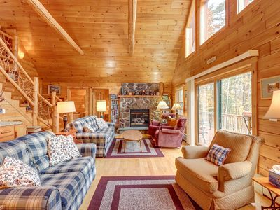 Photo for Lakefront cabin with beautiful loft, game room, views, private dock