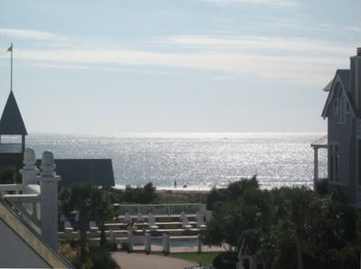 View from Cottage of Pool, pavilon and Beach