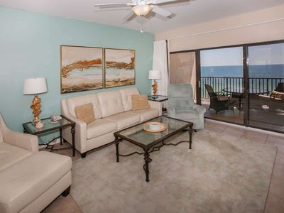 Photo for 2/2 Gulf-Front, Slps 8, Blcny, WiFi, W/D, Pool/Sauna/Fit Ctr/BBQ, Free Activities - The Palms 813
