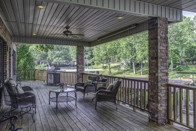 The back deck is a great location for congregating with family and friends.
