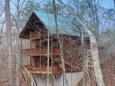 Photo for This beautifully decorated, all wood cabin is just minutes away from all of the area attractions.