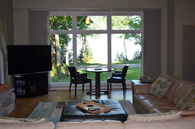 Large living room with view of Lake Michigan.