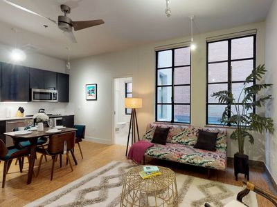 Photo for Stylish loft apartment w/ shared rooftop patio steps from downtown Dallas!