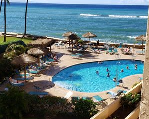 Enjoy our lovely, oceanfront heated pool.