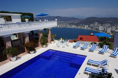 View from Balcony over looking pool and Acapulco bay