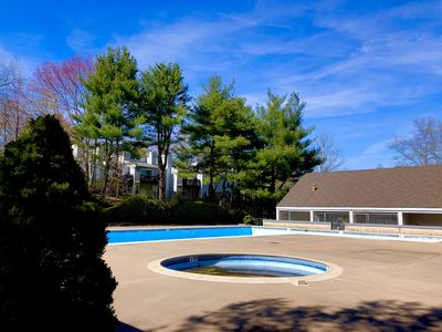 Swimming pool with a view of the kiddie pool. Very popular and sparkling clean