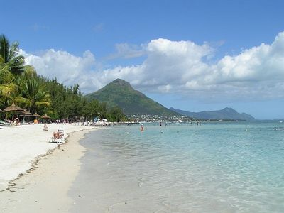 Local beach with mountain view