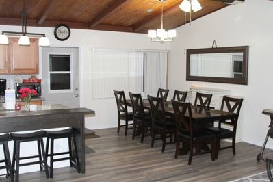 Open kitchen and dining room 8 seating capacity