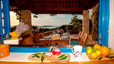 stunning views from the small building of summer kitchen overlooking the terrace