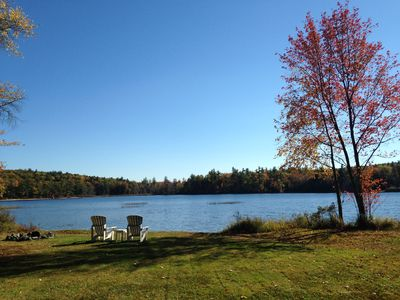 Photo for Secluded log home on private pond in Wolfeboro, NH