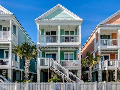 Photo for Ocean views from both balconies; cross street and you're on the beach