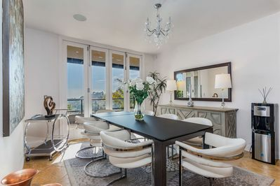 Dining setting for 8 with spectacular city views