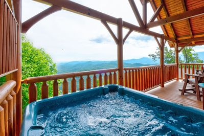 The BEST views from the top deck hot tub!