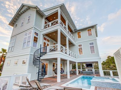 Photo for 30 yards to Beach! New Build! Lakefront Private Pool! Free Golf Cart! Sandcastle by the Sea on 30A