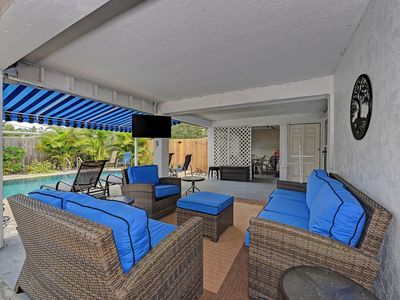 Photo for Laid-back beach escape with a private pool, screened lanai, Ping-Pong, and more!