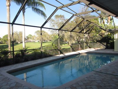 Heated Pool/ Spa Lanai area overlooking Spanish Wells Golf Course