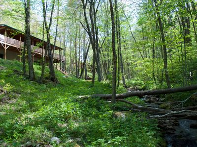 Photo for BOOK NOW FOR SKI SEASON ! Creekside, Waterfall, Hot Tub, Fire Pits. Large home