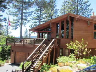 Photo for Lovely bright lakeview home nr Tahoe City, huge deck with hot tub! walk 2 beach