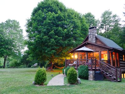 Photo for Private Petting Zoo, Hot Tub, Fire Pit, Waterfall, YARD: Mountain Magic!