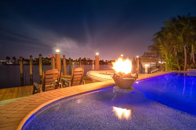 Fire pit in pool