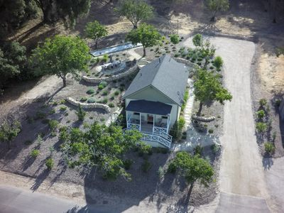 The schoolhouse grounds from above.....time for recess.
