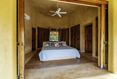 A view of the King Master bedroom from the private porch.