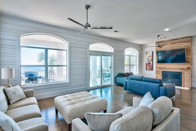 Living room looking out to fantastic gulf views and large deck