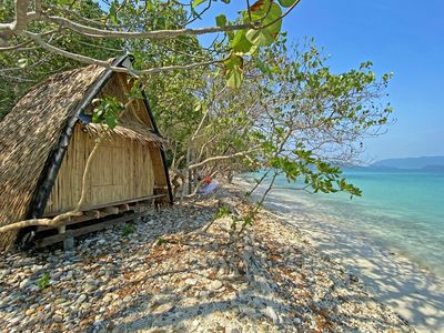 Photo for SOLE RESORT 20 Pax Beachfront Bungalows on Private Island with WiFi Restaurant