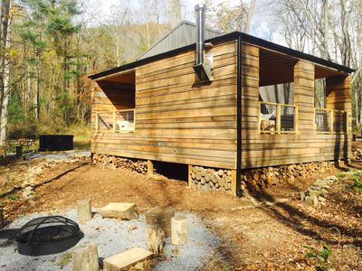 Photo for Brand new cabin! Hot tub, fire pit, mountain views, hikes, short Uber downtown.