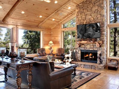 Photo for Custom, 6 Bedroom, Three Story Cabin, with 3 Large Lake View Decks, Movie Room