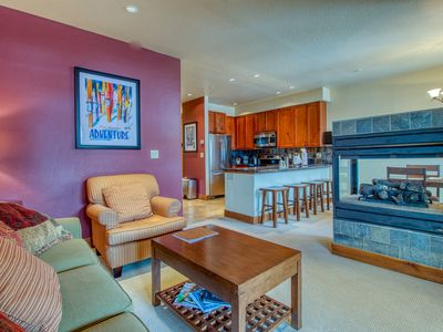 Photo for Top-floor condo w/ balcony, mountain views & shared hot tubs - walk to lifts!