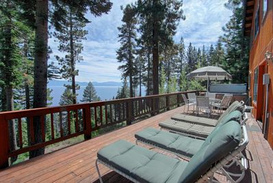 Enjoy stunning views of Lake Tahoe in this beautifully decorated home.