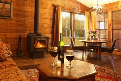 Enjoy the crackle of a fire in the wood stove while you relax with friends.
