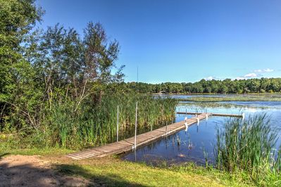 Spend some time on the dock at this studio vacation rental cabin in Westfield!