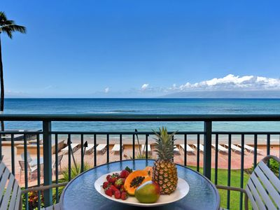 Photo for Makani Sands #202 1brm Beachfront condo with balcony on the ocean
