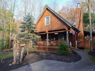 Photo for Cabin in central deep creek, fireplace and outdoor hot tub!