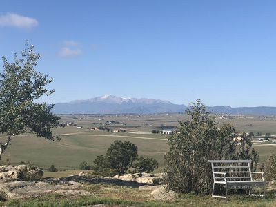 Unobstructed view of Pikes Peak from back deck & yard